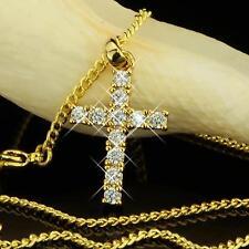 Kette mit Anhänger Kreuz Zirkonia Echt 750er Gold 18 Karat vergoldet Damen A1822
