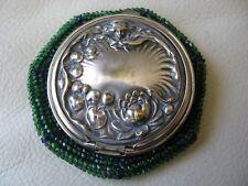 Antique Art Nouveau Woman Lily Pond Cobalt Blue Green Bead Tam O Shanter Purse