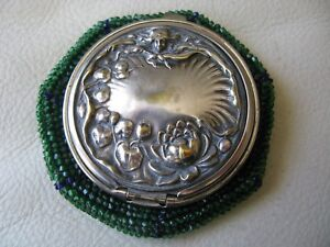 Antique Art Nouveau Woman Lily Pond Cobalt Blue Green Bead Tam O Shanter Purse