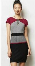 Sparrow Anthropologie Black Motif Sweater Peplum Dress Sz L NEW NWT $158