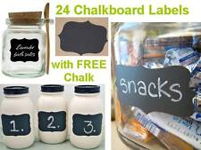 24 Fancy Chalkboard Blackboard Label Sticker Decal Craft Jar Organise FREE Chalk