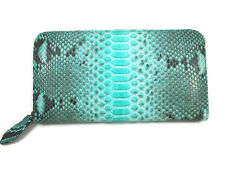 EXOTIC BLUISH GREEN COLOR GENUINE SNAKE SKIN LEATHER WOMEN WALLET ZIPPED PURSE