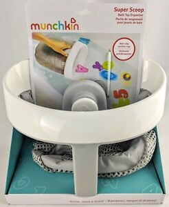 Munchkin Super Scoop Bath Toy Organiser Grey Non-Slip Suction Cup