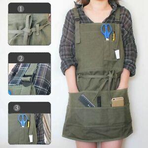 Artist Painting Aprons Garden Lab Work Dress with Pockets Adjustable Neck Waist