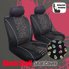 Black Skull Bronzing Flannelette Suede Mesh Airbag Seat Cover For Car Truck SUVs