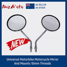 1 pair round chrome mirror 10mm for cafe racer minibike motorcycle AU STOCK