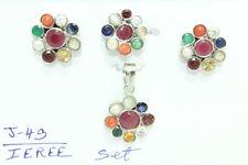 Handmade Pendant Earring Ring Set 925 Sterling Silver Navratan Navaratan Stone B