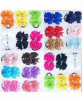 2 X Girls Hair Bows Bobbles Ribbon Pony Elastic band School Uniform Colours Gift