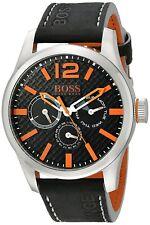 Hugo Boss Original 1513228 Men's Orange Black Calfskin Watch 47 MM