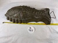 "Vintage Tin Fish Mold 12"" Large Silver Mold Antique Kitchenware b 467"
