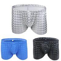 Men Sexy Wet Look Underwear Boxer Briefs Bulge Pouch Swimwear Swim Trunks Shorts