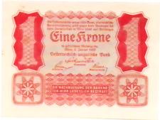 1922 Austria 1 Kronen  Banknote