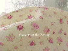 SHABBY COTTAGE CHIC PINK ROSES WINE ROSEBUDS KING QUILT & PILLOW SHAMS BUTTER