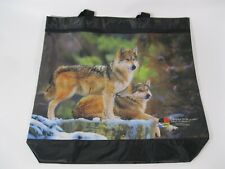 Wolf Tote Bag Nylon 2 Compartments Velcro Zippered Large (A3)