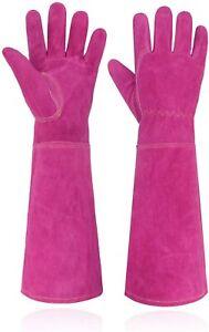 Ladies Thorn Proof Gardening Gloves, Long Gauntlet Heavy Duty Garden Gloves