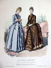Grande Gravure de Mode Couleur LA MODE ILLUSTRÉE 26 X 37 Gradoz TOUDOUZE 1887