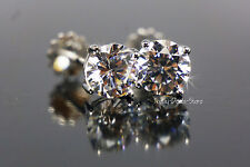 Stud Earrings 4.02 carat round cut screwback solid real 14K white gold new