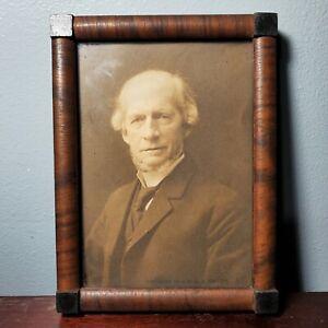 "Antique Brown & Black Wooden Hanging Picture Frame w/ Portrait Photo 5.75"" x 4"""
