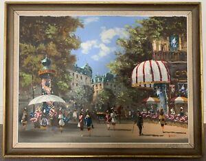 Large mid century signed framed original oil on canvas painting Paris scene