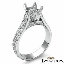 1.45Ct 3 Row Pave Set Diamond Engagement Round Semi Mount Ring 18k White Gold
