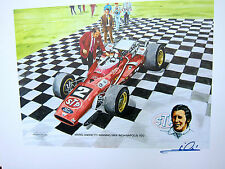 MARIO ANDRETTI AUTOGRAPHED  VICTORY LANE STP 1969 INDY 500 LITHOGRAPH