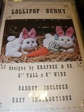 "STUFFED ANIMALS BUNNY RABBIT CARROT 5"" FABRIC CRAFT SEWING PATTERN PROJECT"