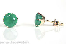 9ct Gold Green Agate 6mm round Stud earrings Gift Boxed Studs Made in UK
