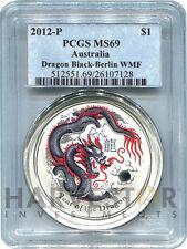 2012 AUSTRALIAN BLACK DRAGON 1 OZ. COLOR BERLIN WORLD MONEY FAIR PCGS MS69