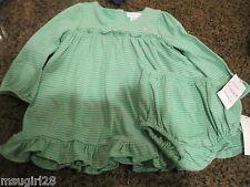 NWT 9 mos Ralph Lauren girls green pink stripe dress & diaper cover $35