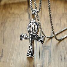 Egyptian Cross of Life Pendant Necklace Stainless Steel Pharaoh Scarab Ankh Mens