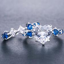 Women 2pcs/set Heart Shape White Sapphire 925 Silver Wedding Ring Size 8