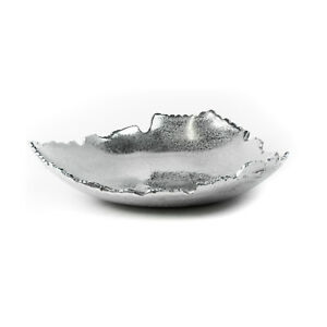 Silver Allure Decorative Torn Hammered Centerpiece Bowl Catch-All Dish Tray