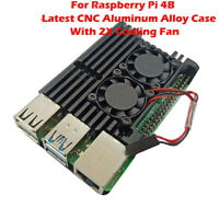 For Raspberry Pi 4B Latest CNC Aluminum Alloy Case Enclosure with 2X Cooling Fan