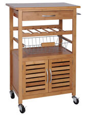 Küchenwagen aus Bambus Servierwagen mit Rollen Weinregal Obstkorb Schublade