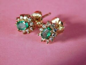VINTAGE 9CT GOLD DIAMOND & EMERALD EARRINGS - 10ct GOLD BUTTERFLY CLIPS