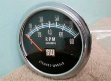 Vintage SW Blue Line Tach 8,000 RPM Stewart Warner Tachometer Hot Rod Muscle Car