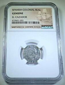 1761 El Cazador Shipwreck Silver 1 Reales NGC Genuine Antique 1700's Pirate Coin
