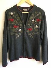 Size M CUTE Ugly Christmas Sweater Zipper Cardigan Cardinal Balsam Grey Gray Red