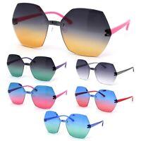 Girls Kid Size Octagonal Rimless Designer Chic Sunglasses