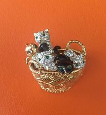 Collectible Carolee Basket With Cats Brooch
