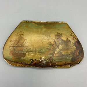 Antique Vintage Hand Painted Spectacles Eyeglass Case Holder Tall Ship Fort