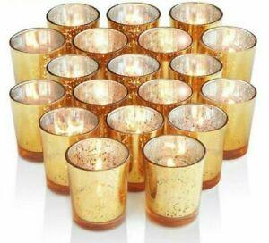 12Pcs Glass Candle Holder Candlestick Tealight Wedding Parties Home Decoration
