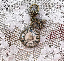 Brass Key Ring Bee Skep Clock Vintage Beehive Zipper Pull Glass Dome Filigree