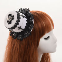 Women Gothic Mini Lace Hat Top Skull Cross Decoration Hair Clip Hairpin Headwear