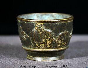 """2.4"""" Marqué vieux bronze chinois Dynastie Elephant Motif Eau Coupe du navire"""