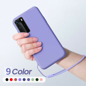 For Huawei P40 P30 P20 Mate 30 Lite Hand Lanyard Liquid Silicone Soft Case Cover
