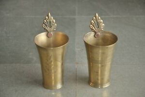 2 Pc Old Handcrafted Different Engraved Brass Milk / Lassi Glass