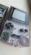 Nintendo Gameboy Game Boy Color Colour Atomic Clear Purple and 2 Games