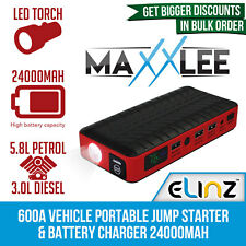 Maxxlee 600A Car Battery Charger Emergency Jump Starter Portable 24000mAh 12V