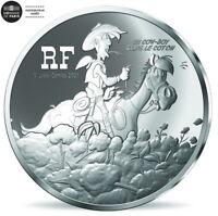 FRANCE 10 EURO B. EPREUVE ARGENT 2021 LUCKY LUKE UN COW BOY DANS LE COTON @ RARE